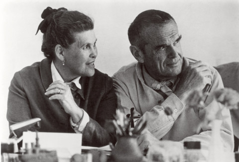 Ray and Charles Eames at the Aspen Design Conference, 1976. Credit: Eames Office, LLC emailed photo